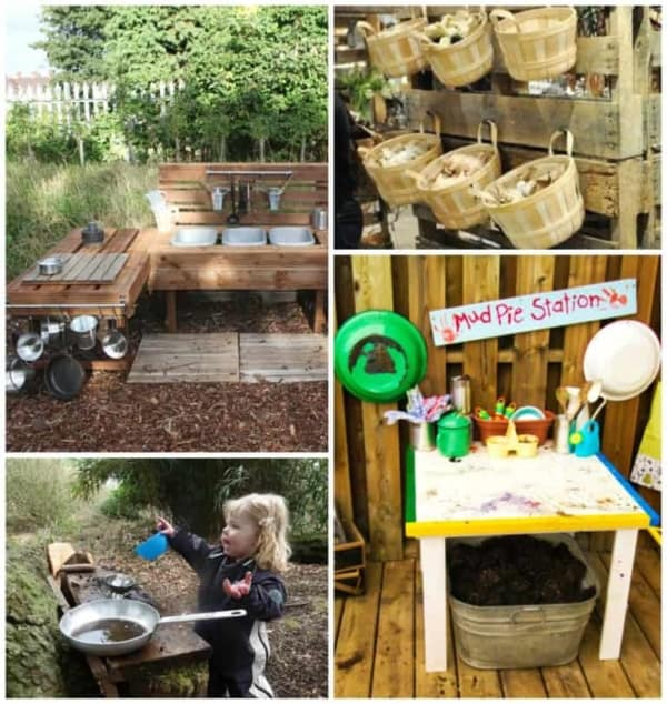 Little girl making mud pies in her outdoor kitchen, one of many amazing outdoor play spaces