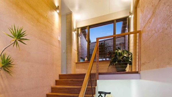 the interior of a rammed earth house built by RammedEarthConstructions.com in Australia