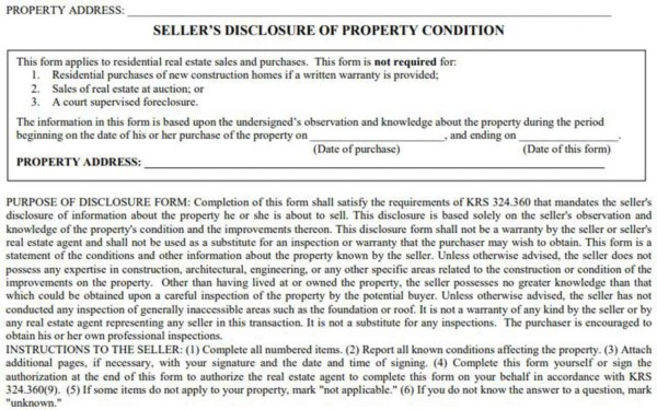 the seller property disclosure is a legal document & if falsified, the buyer can take the seller to court within the allowed statute of limitations