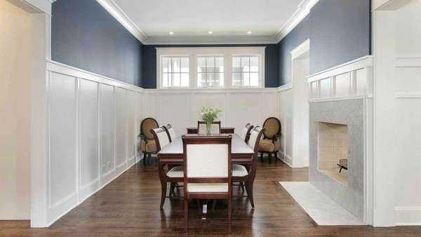 When looking for fireplace ideas, keep in mind the room where you're planning to put the fireplace ... like this dining room where the fireplace is the focal point