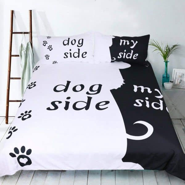fun dog lover comforter that explains who gets most of the bed when your dog sleeps with you, LOL