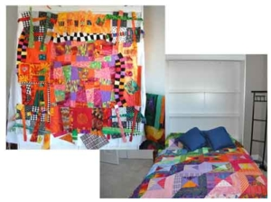 murphy bed doubles as quilt design wall, the perfect double duty furniture