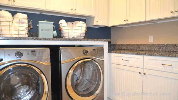 Countertops over laundry appliances & cabinets are helpful for sorting & folding laundry ...