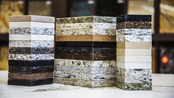 Stacks of expensive granite & quartz samples ... that aren't on the list of budget countertop materials