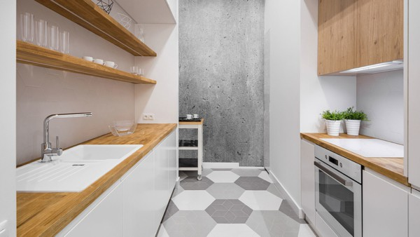 Wooden countertops which match open shelving & cabinets ...