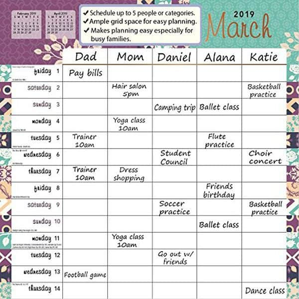 family wall calendar with columns for each family member
