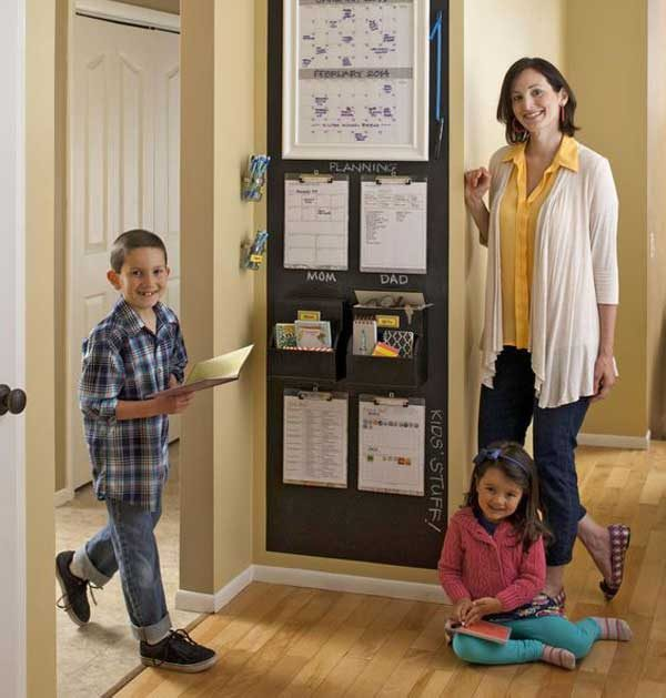 mother & kids grouped around family command center
