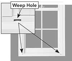 weep hole is added to windows, brick walls & more, to let water escape