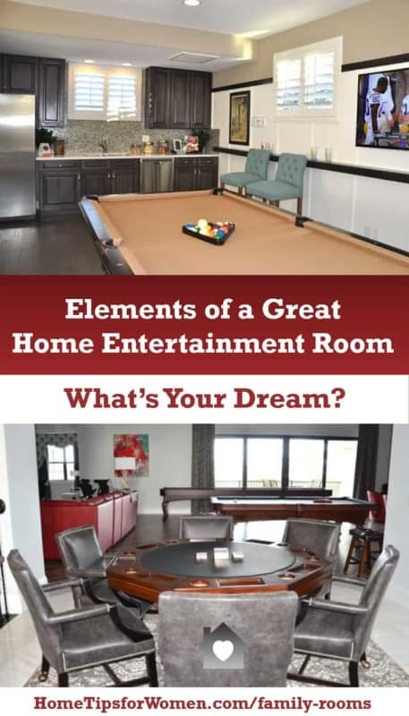 home entertainment collage, from a pool table to a card table
