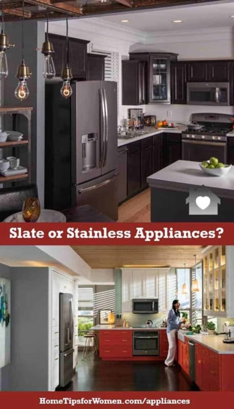 slate appliances seem to be replacing stainless because they don't show finger smudges & otherwise, have a similar look ... yeah!