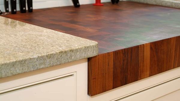 wood works well for a kitchen countertop