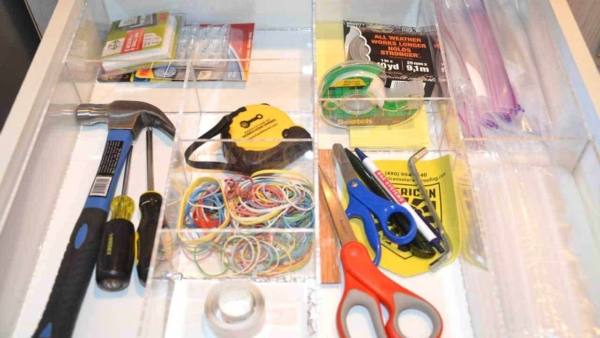 my organized junk drawer is perfect because I can see everything immediately ... no more treasure hunt