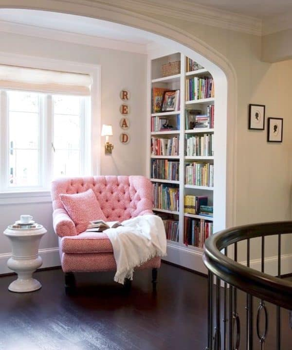 reading nooks can be tucked into small spaces like this hallway that might otherwise go unused they're a great spot for a woman cave