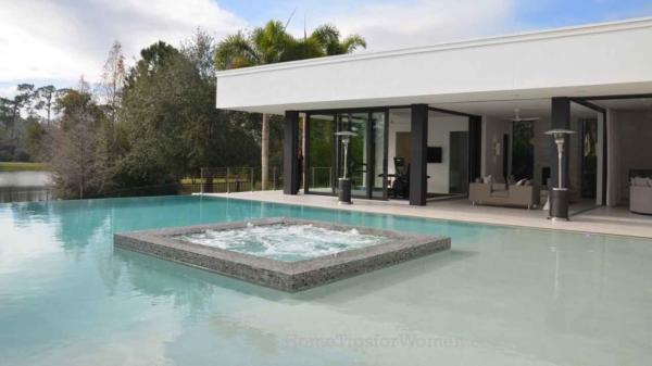 swimming pool & spa for everyone to have some backyard fun