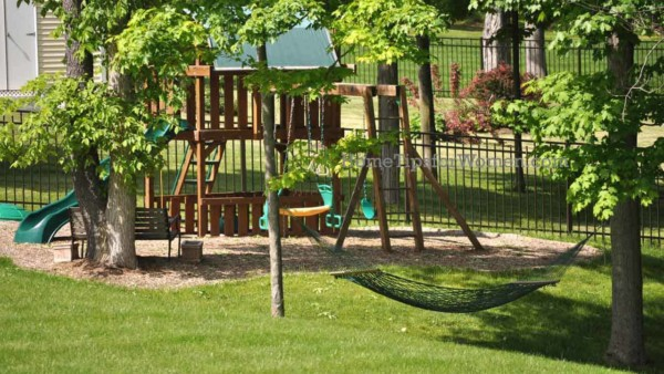 you'll enjoy your kids & their new swingset more if you also get some chairs or bench to relax while watching them