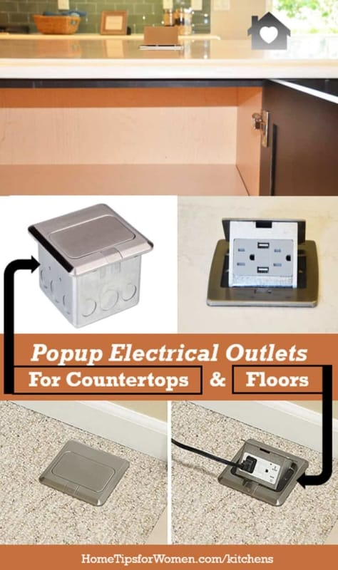you can find popup electrical outlets for kitchen countertops & floors throughout your house