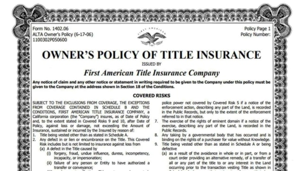 When you buy a home, the title company makes sure the records are clean & sell you a life insurance policy in case something is missed ... a very strange type of homeowner insurance