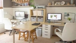 home office design might include additional work surfaces that change your design choices