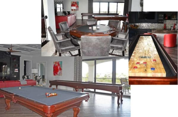Many family vacation resorts have a game room in their clubhouse & here, it's all right in the house