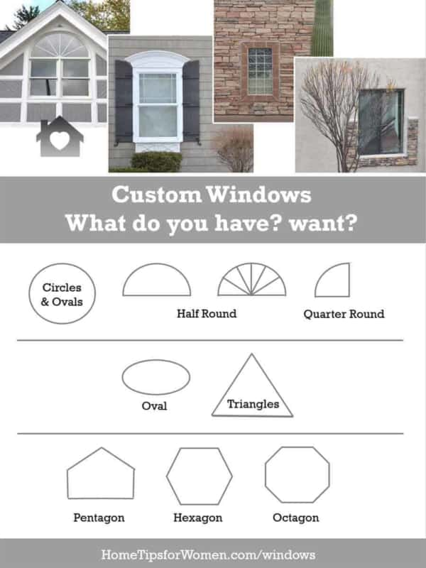 Custom windows in many shapes home tips for women for Types of window shapes