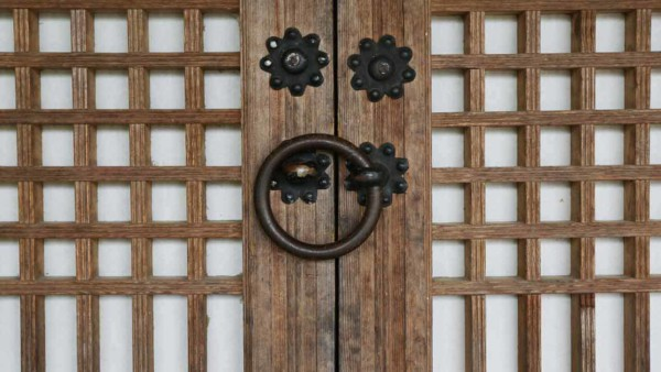 front doors & their handles follow country traditions like this Korean door