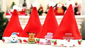 Christmas savings when you decorate with Santa hats you can use for many years