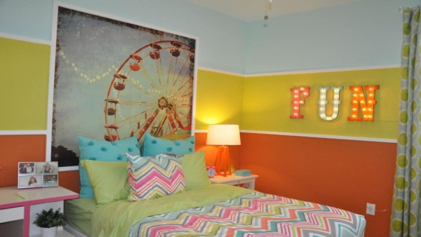 this color scheme is full of lots of trends, from orange, green and blue, to pink, yellow, and blue