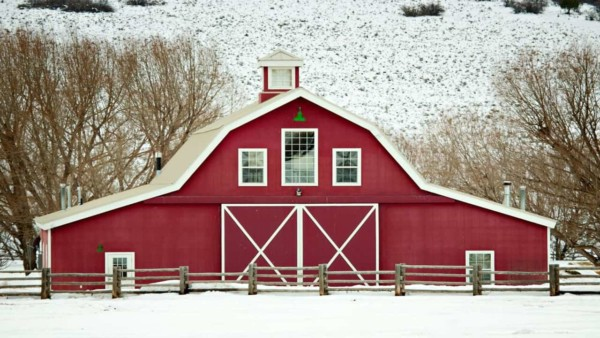 this barn is more of a fire-engine red than the classic barn red