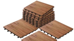 manufacturers are starting to design house building materials like these deck squares, to make it easier to ship them when ordered online