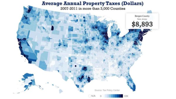 us may showing wide variation in property taxes across 3,000 counties