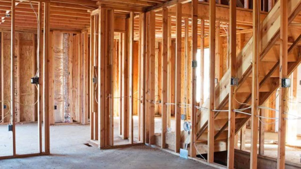 many house building materials like the lumber & electrical wiring seen here, aren't visible once a house is finished construction