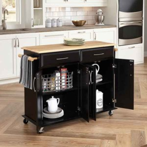 with budget kitchen renovations, one way to save money is to buy furniture instead of adding built-in cabinets