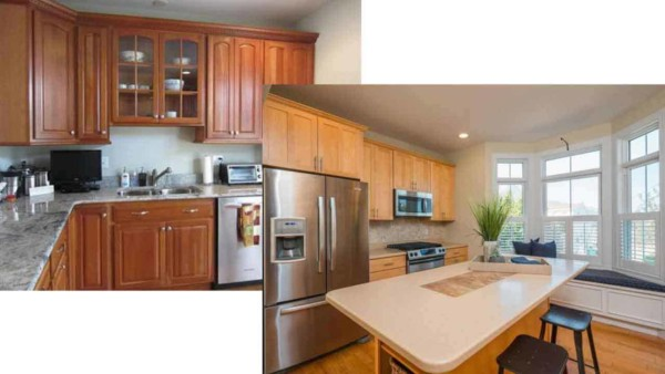 it's possible to find & reuse someone else's cabinets for a budget kitchen renovation, as the cherry cabinets on the left were replaced even though they were brand new