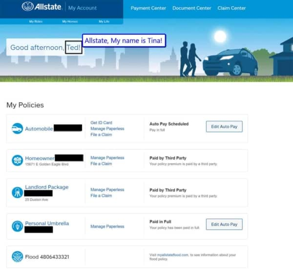Allstate's website doesn't make it easy to see or confirm that the named policy holders are correct