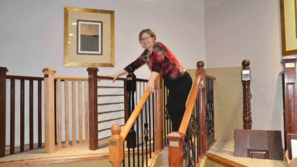 the design centers provided by production custom home builders is amazing, as you can see from this photo of me checking out the stair railing options