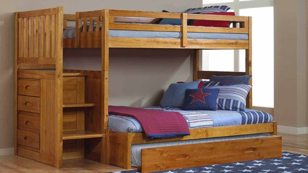 honey wood bunk beds with blue comforters, one of the perfect beds for small bedrooms