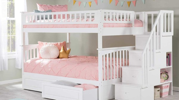 bunk bed with stairs on the side