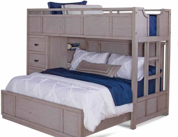 gray twin over full bunk with built-in ladder