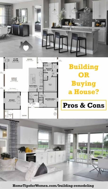 building vs buying a house collage