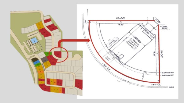 builder site plan showing available building lots & blow up of my lot