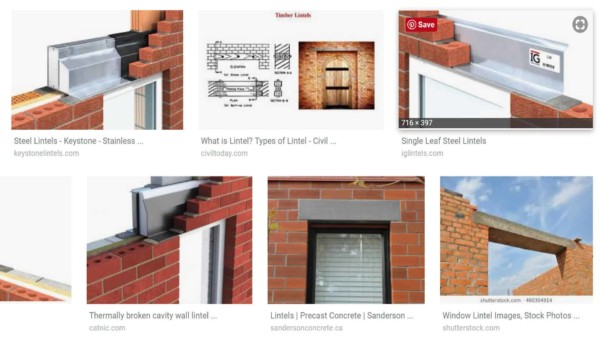 examples of brick construction using lintels ... via Google