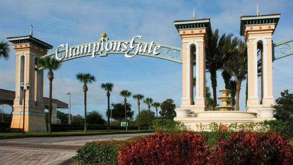 champions gate arch as you enter downtown from rt 4