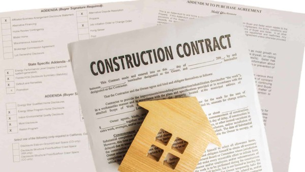 sample of paperwork for home building companies contract