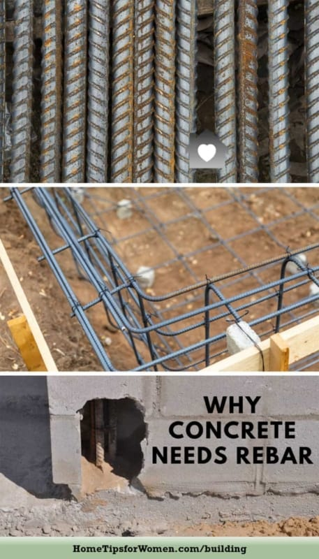 collage showing stages of rebar in construction