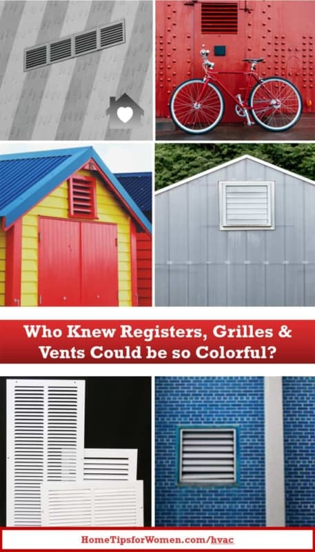 collage showing registers & grilles in bright colors