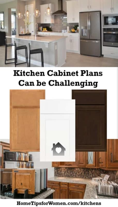 collage showing some of the challenges creating kitchen cabinet plans