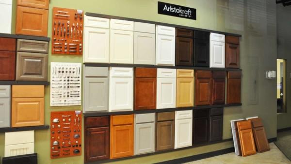kitchen cabinet choices displayed at kitchen showroom