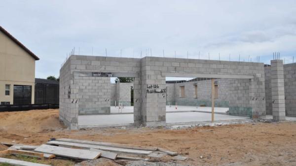 block walls with lintels over garage door openings