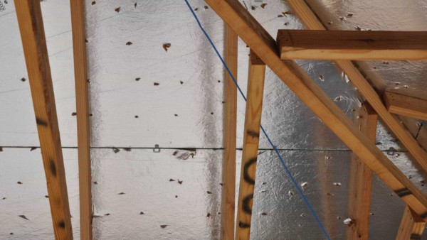 Close-up showing all the nail pops breaking the radiant barrier surface ... ugh