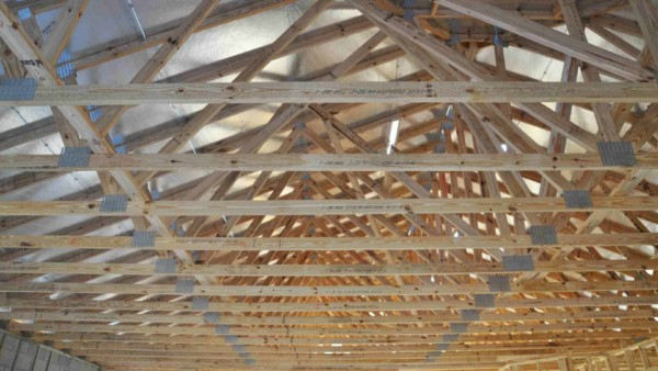View of the radiant barrier on the roof decking, from inside the house